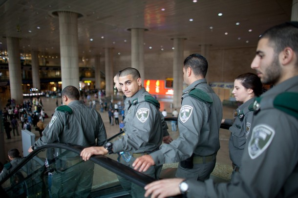 "TEL AVIV, ISRAEL - APRIL 15:   (ISRAEL OUT) Israeli policemen are seen as the are deployed on April 15, 2012 at the Ben Gorion Air Port near Tel Aviv, Israel. Some 650 policemen were stationed at Airport as hundreds of activists and protesters were due to arrive as part of the ""Welcome to Palestine"" fly-in protest."