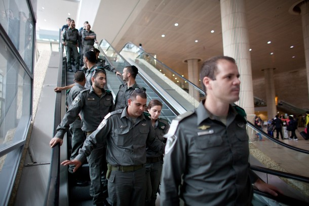 "TEL AVIV, ISRAEL - APRIL 15:   (ISRAEL OUT) Israeli policemen are seen as the are deployed on April 15, 2012 at the Ben Gorion Air Port near Tel Aviv, Israel. Some 650 policemen were stationed at Airport as hundreds of activists and protesters were due to arrive as part of the ""Welcome to Palestine"" fly-in protest.  (Photo by Uriel Sinai/Getty Images)"